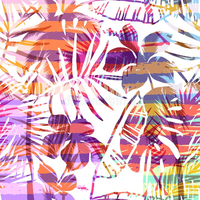 Free Seamless Exotic Pattern With Tropical Palm In Bright Color. Stock Photography - 103295332