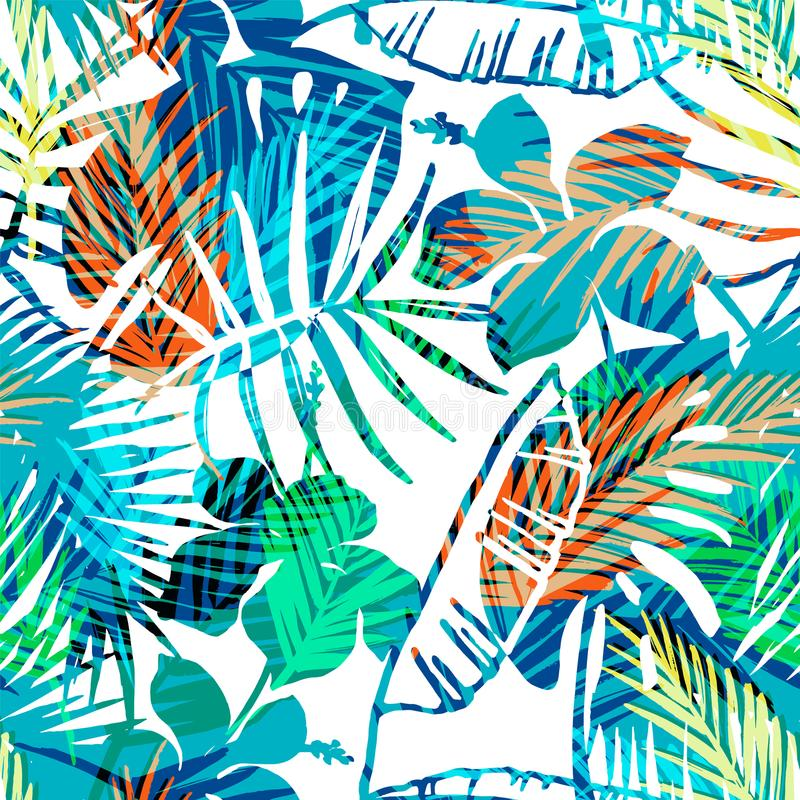 Free Seamless Exotic Pattern With Tropical Palm In Bright Color. Royalty Free Stock Photos - 103295658