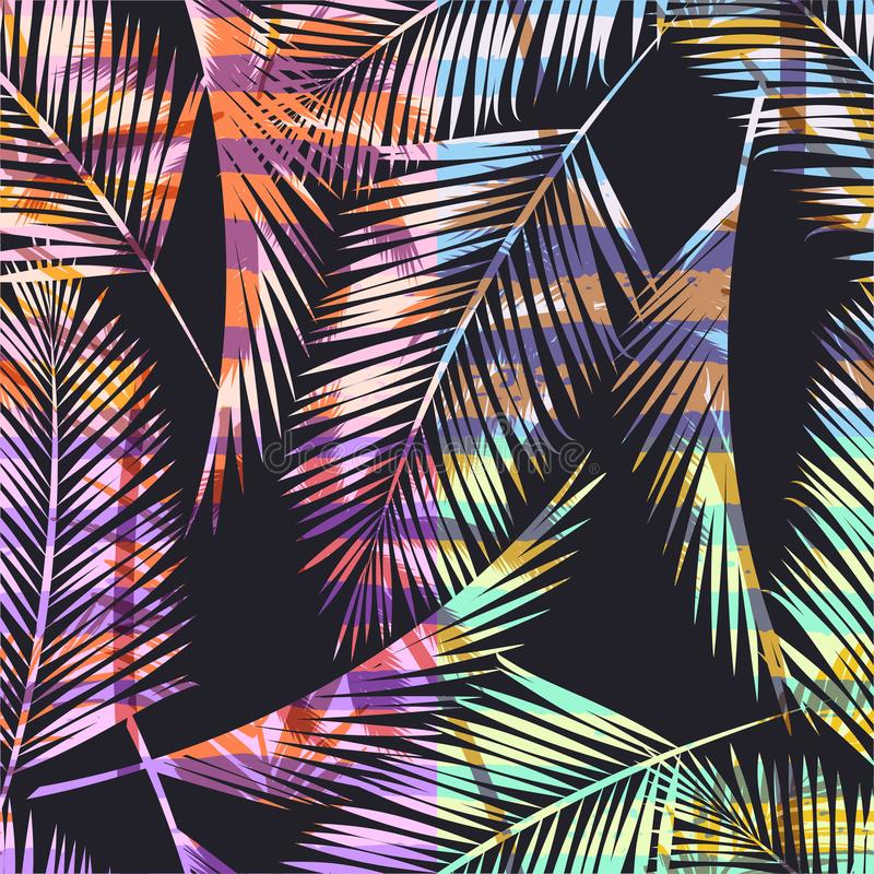 Free Seamless Exotic Pattern With Tropical Palm In Bright Color. Royalty Free Stock Images - 111013169
