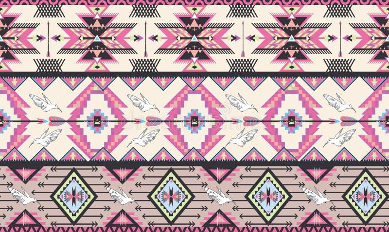 Seamless färgrik aztec modell med fåglar och arr vektor illustrationer