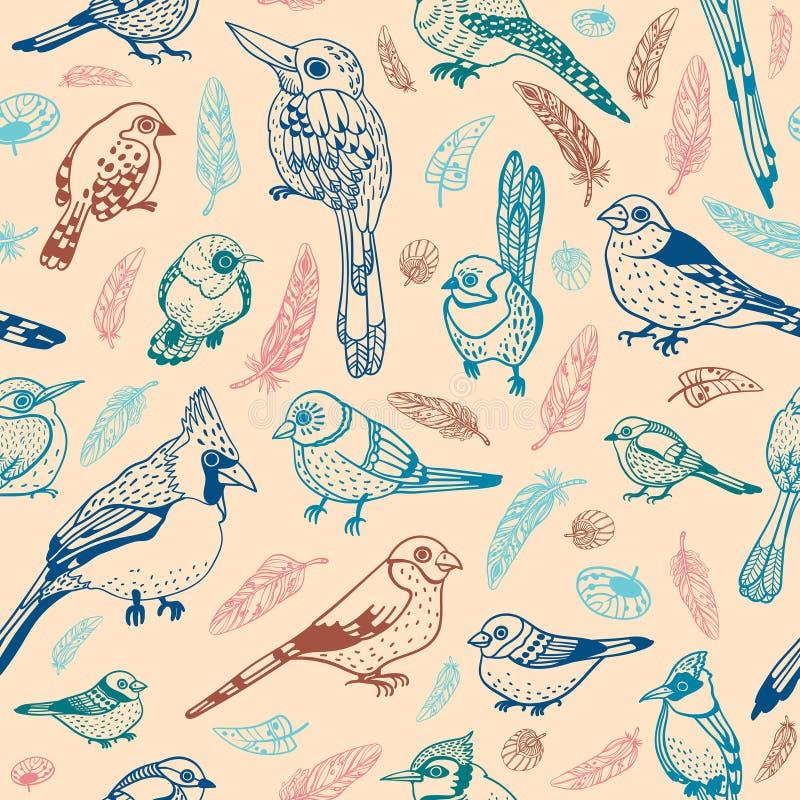 seamless fågelmodell stock illustrationer