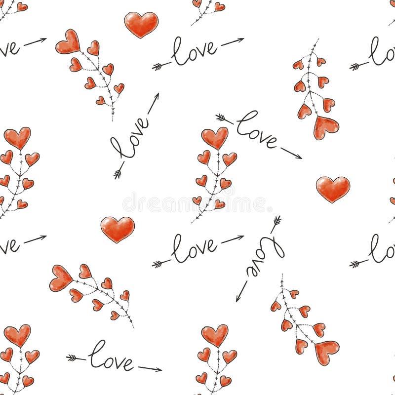 seamless förälskelsemodell Dekorativ bakgrund för hjärta för valentindag också vektor för coreldrawillustration stock illustrationer