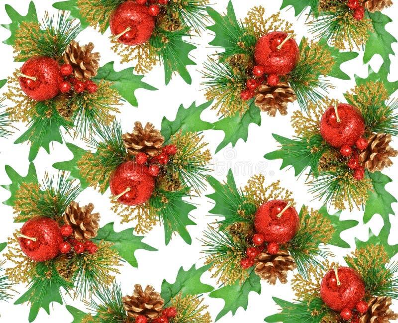 seamless för prydnad för julguldgreen rött royaltyfri bild
