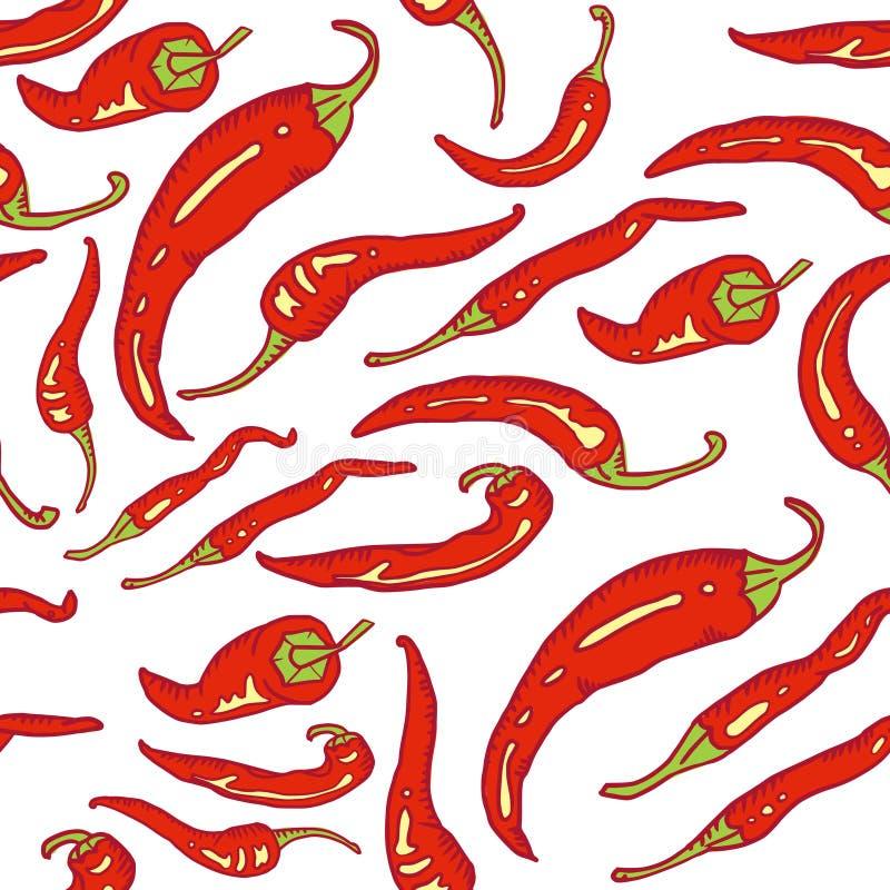 seamless för varma peppar för chili rött royaltyfri illustrationer
