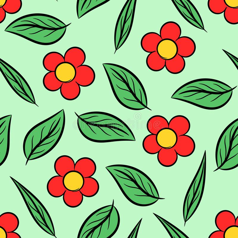 seamless f?rgrika blommor f?r bakgrund stock illustrationer