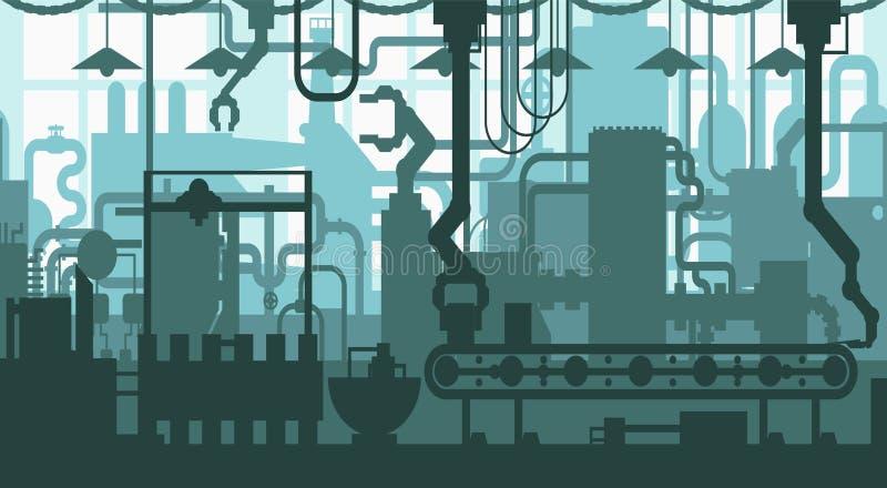 Seamless factory plant conveyor line production development industrial interior flat design pattern decoration stock illustration