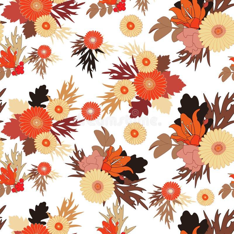 Seamless fall flower pattern on white background. Autumn flower. S and leaves. Vector EPS 10 stock illustration