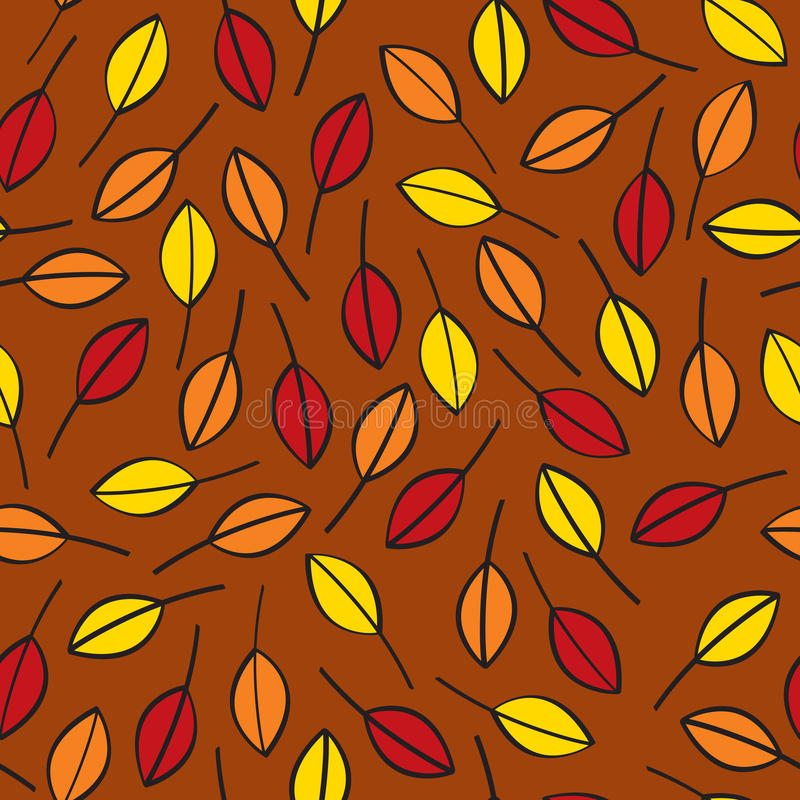 Seamless Fall Leaves. A seamless pattern of fall leaves done in traditional fall or autumn colors on a brown background royalty free illustration