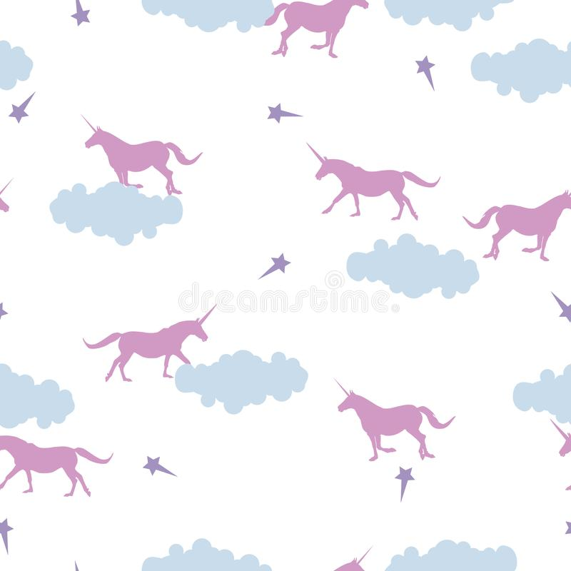 Seamless pattern pink Unicorn, clouds, stars on white stock illustration