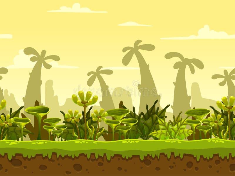 Seamless fantasy landscape stock illustration