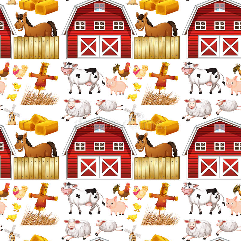 Seamless farm animals and red barn. Illustration vector illustration