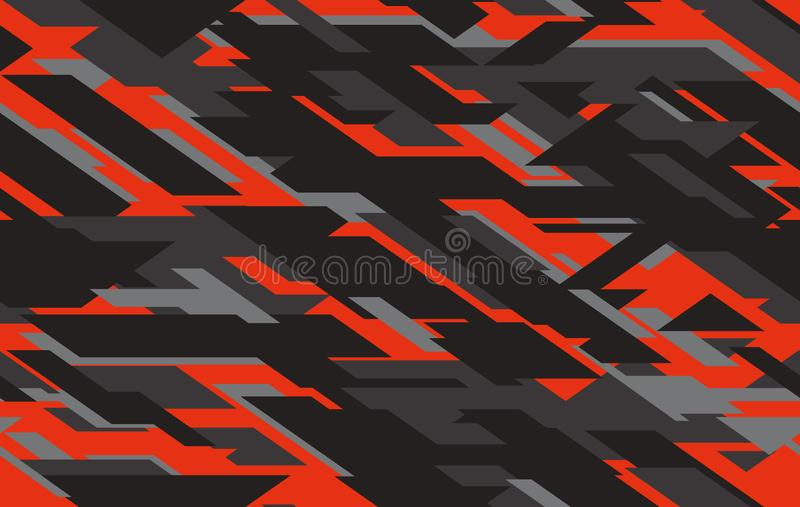 Seamless fashion dark gray and red hunting camo pattern vector royalty free stock photography