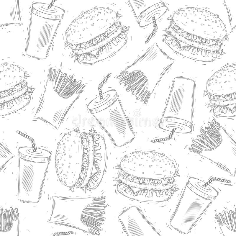Seamless fast food pattern. Hand drawing. royalty free illustration