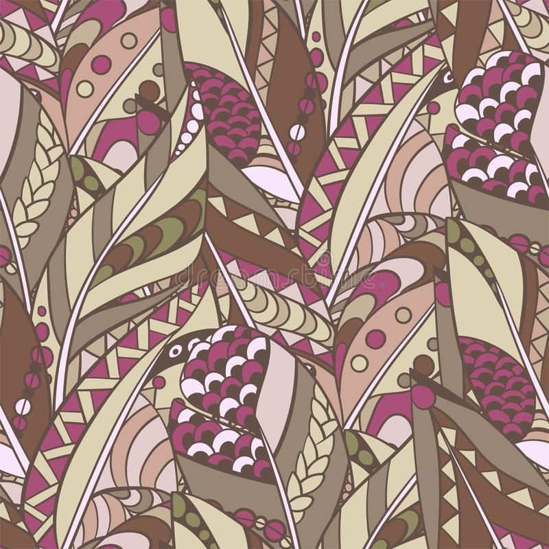 Seamless feather pattern in abstract ornament style in tribal co stock illustration