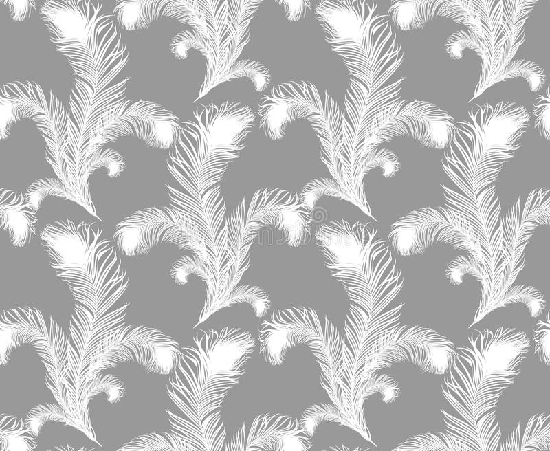 Seamless feather pattern. Grey background with white feathers of bird. Repeating texture. Boho style stock illustration