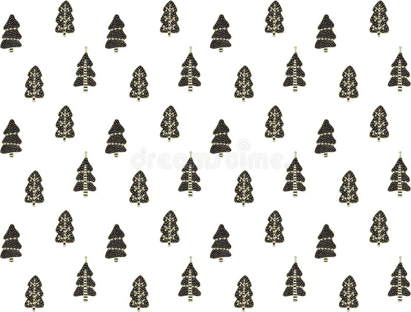 Seamless festive pattern of Christmas trees decorated with balls in the Scandinavian style on a white background. Hand drawing. Fo royalty free illustration