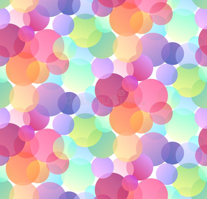 Seamless festive pattern with multicolored confetti on white background. Gradient bokeh. stock illustration