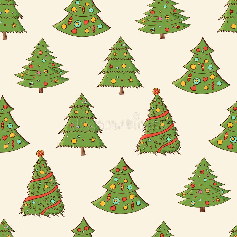 Free Seamless Festive Pattern With Hand-drawn Christmas Trees. Firs. Endless Traditional Texture For Christmas Design, Fabrics, Stock Image - 131466561