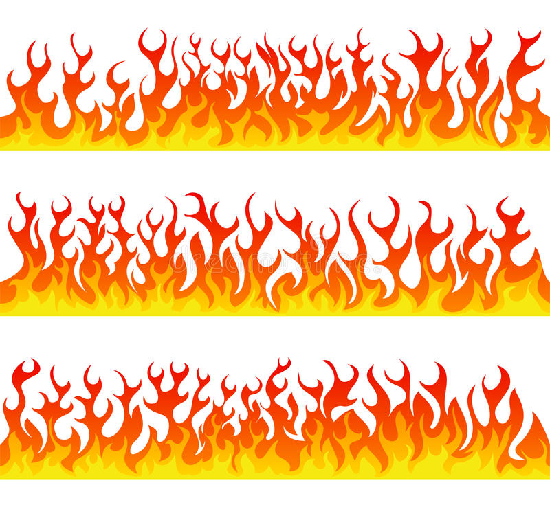 Seamless fire flames line vector set vector illustration