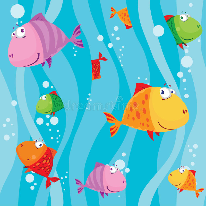 Seamless Fish In Water With Waves Royalty Free Stock Photography