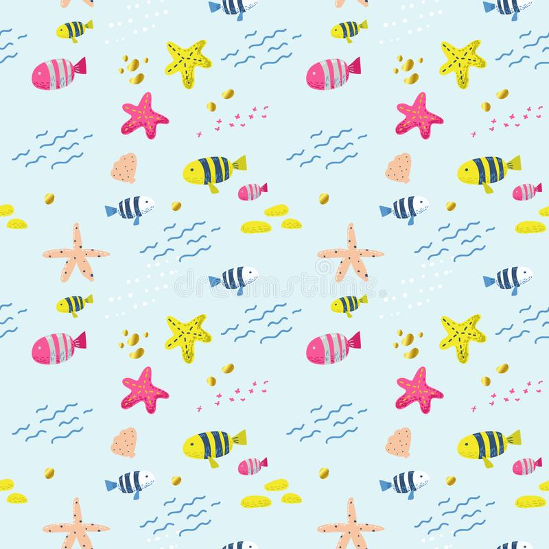 seamless fiskmodell Gullig barnslig bakgrund för tyg, dekor, tapet, inpackningspapper Undervattens- varelser vektor illustrationer