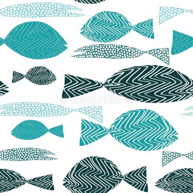 seamless fiskmodell Olik turkosfisk med bandans-prickar white för vektor för bakgrundsillustrationhaj stock illustrationer