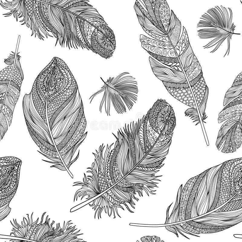seamless fjädermodell Vektorfjädrar på en vit bakgrund vektor illustrationer