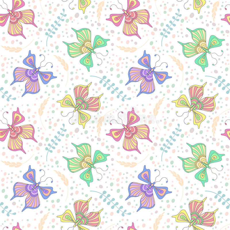 seamless fjärilsmodell stock illustrationer