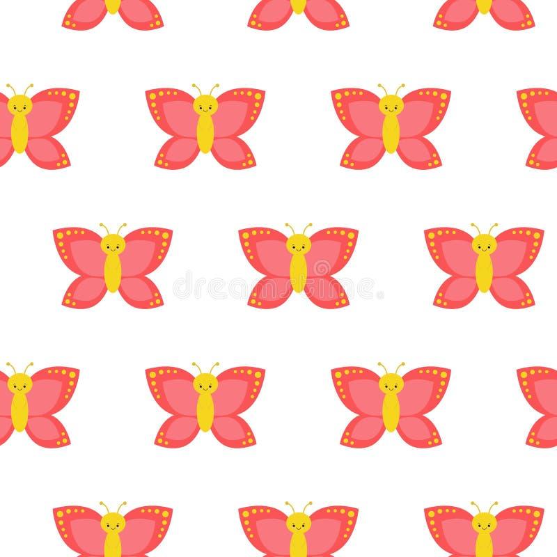 seamless fjärilsmodell Göra perfekt för tapet, gåvapapper, modellpåfyllningar, webbsidabakgrund, vår och sommar royaltyfri illustrationer