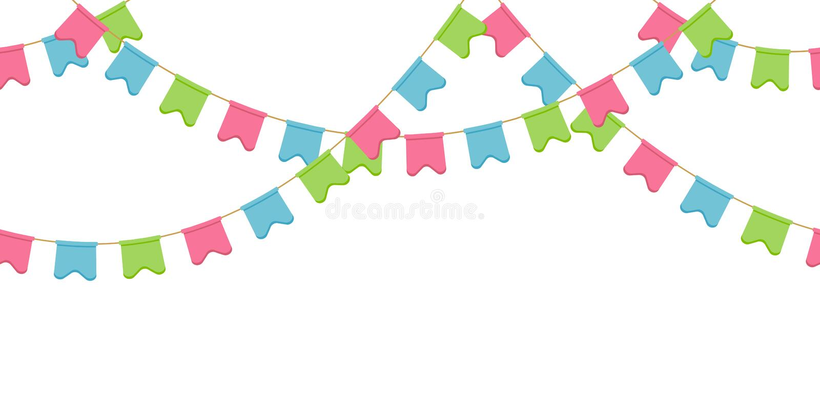 Seamless flag garland, decoration chain, pink, blue, green rounded pennons without background vector illustration