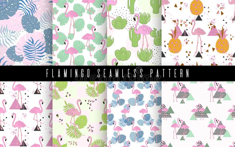 Seamless flamingo and leaves tropic pattern vector illustration. Background beauty tropical print. Summer paradise stock photos