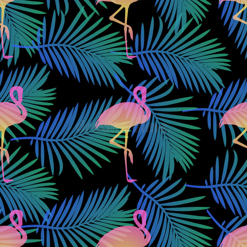 Download Seamless Flamingos And Palm Leaf Pattern Background Stock Vector