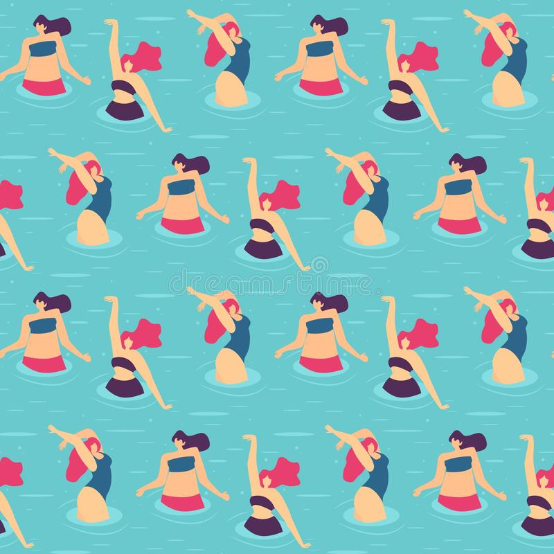 Seamless Flat Pattern Active Woman Pool Party. Seamless Flat Cartoon Pattern Active Woman Dancing Doing Exercise Water Gymnastics Pool Party Summer Activities royalty free illustration