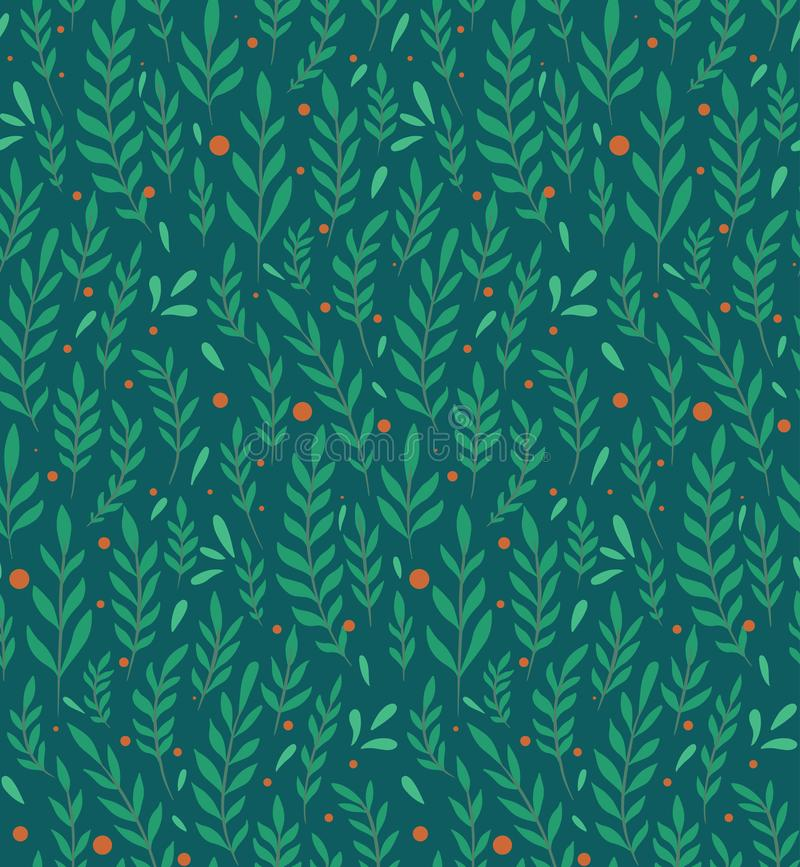 Seamless flat pattern with branches, leaves and berries on a dark green background. Natural simple floral backdrop. Natural vector illustration