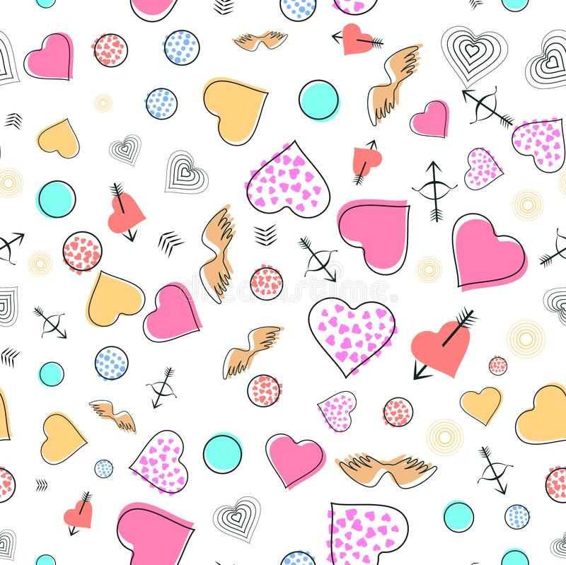 Seamless flat pattern with cupid, hearts and angel wings for Valentines day or Lovers Day. Vector illustration. royalty free illustration