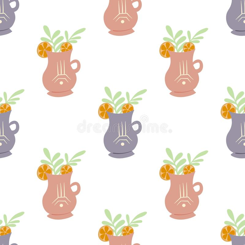 Seamless flat pattern with cups of tea with foliage and lemon slice on white background. Mugs with summer ingredients in a row. stock illustration