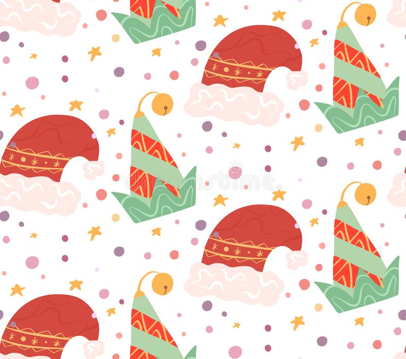 Seamless flat pattern with elf and santa claus hats on white background with confetti and stars. Christmas holiday background. Vector Christmas texture for royalty free illustration