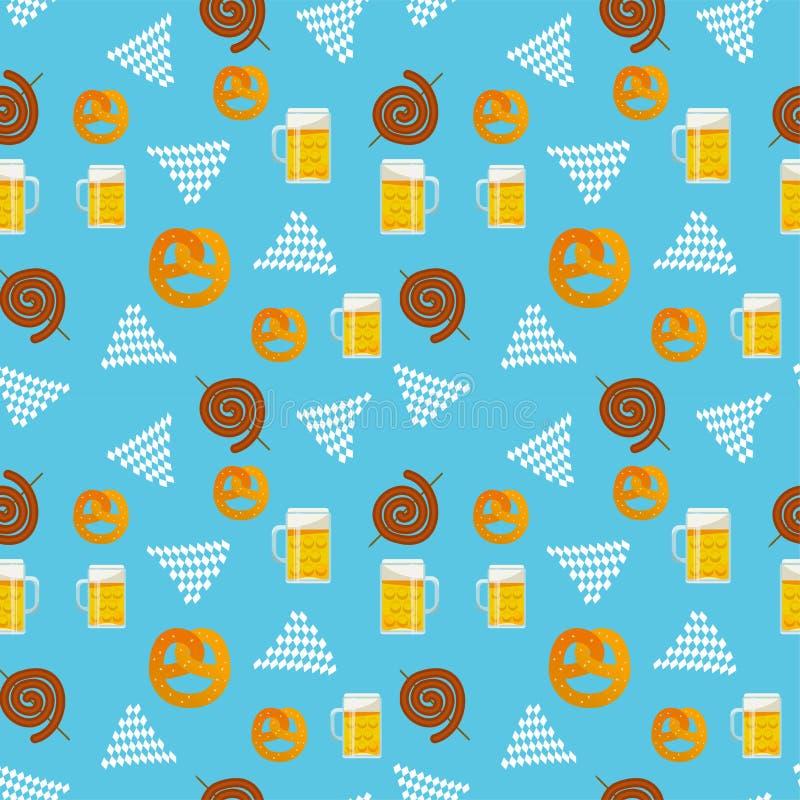 Seamless flat pattern of traditional Oktoberfest food. Oktoberfest beer festival icons. Oktoberfest symbol: mug, snack, pretzel, royalty free stock photo