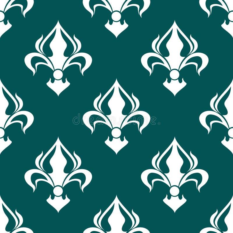 Download Seamless Fleur De Lis Royal White Pattern Stock Vector