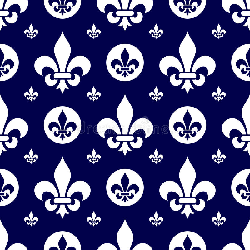 Seamless Fleur de Lys Tile [1]. A fleur de lys seamless tile, white on blue background. Useful as design element for texture, pattern, heraldry and artistic stock illustration