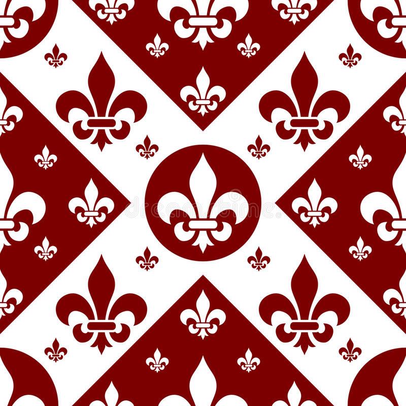 Seamless Fleur de Lys Tile [2]. A fleur de lys seamless tile, white on red background. Useful as design element for texture, pattern, heraldry and artistic stock illustration