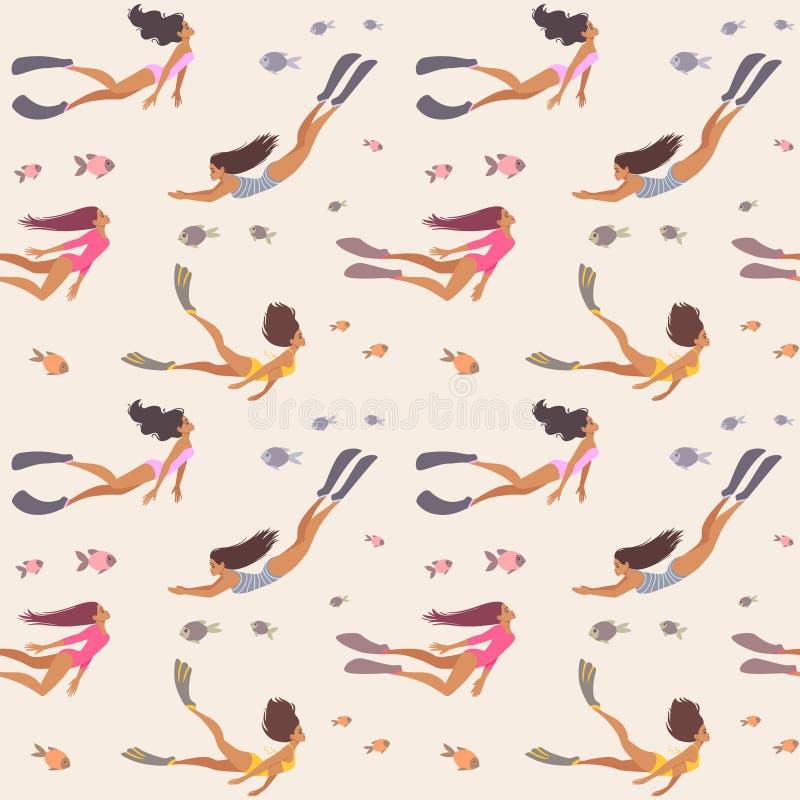 seamless flickamodell stock illustrationer