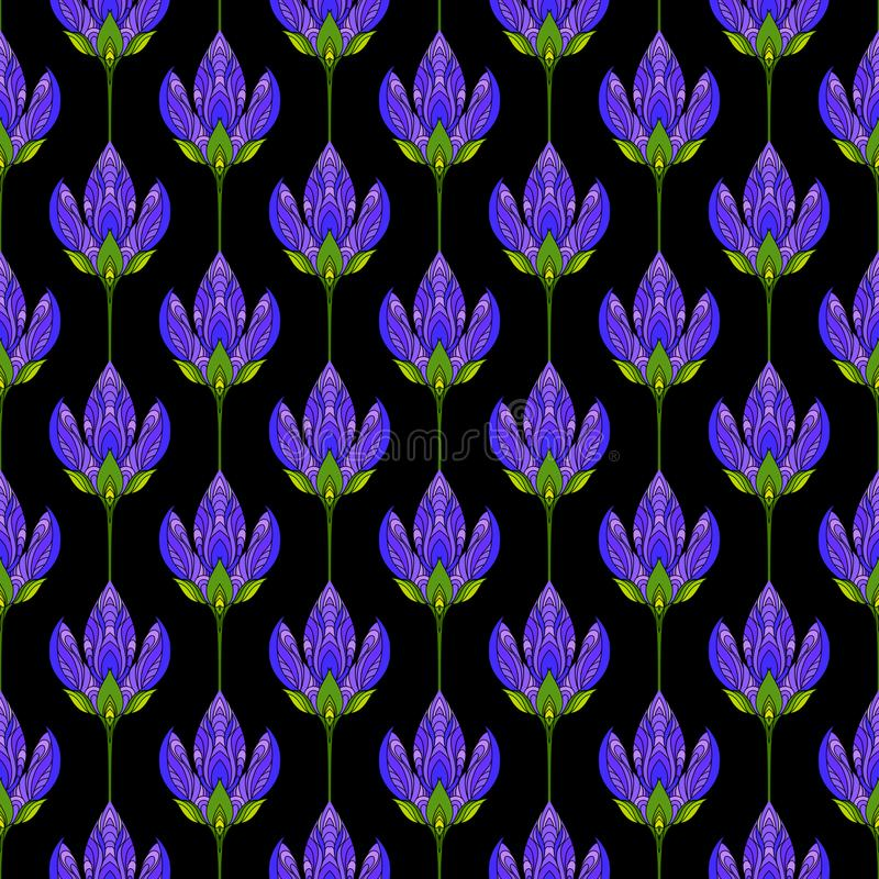 Seamless floral abstract pattern. Colorful print composed of colored purple flowers on black background. Summer bright background. stock illustration
