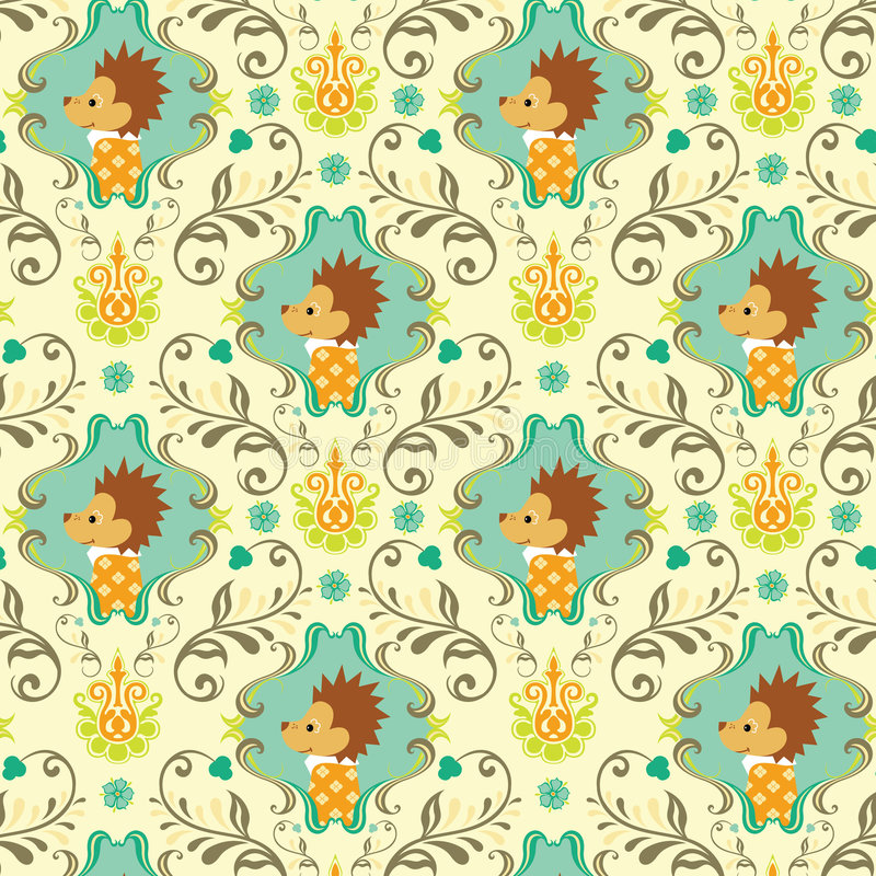 Download Seamless Floral Animals Pattern I Stock Vector - Illustration: 9159900