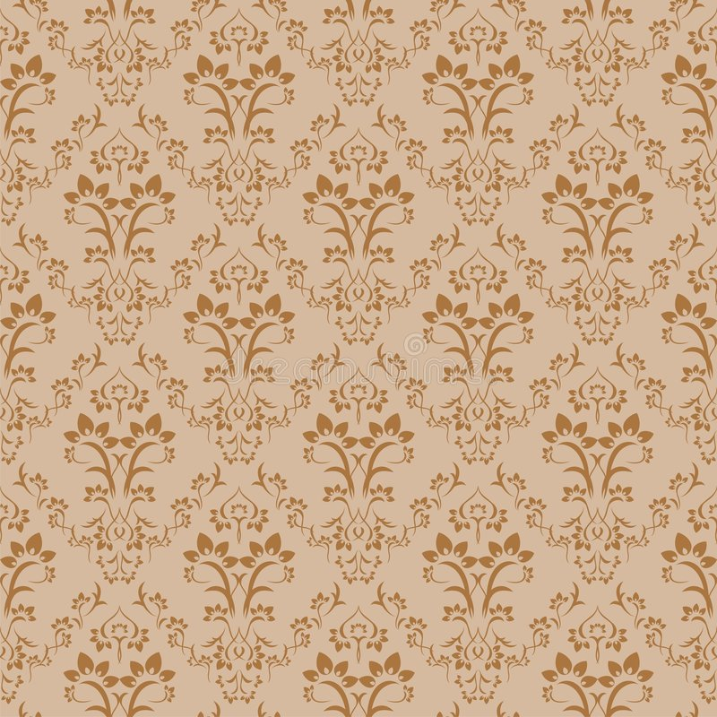 Seamless floral background. Seamless retro golden damask pattern. Floral vintage wallpaper background vector illustration