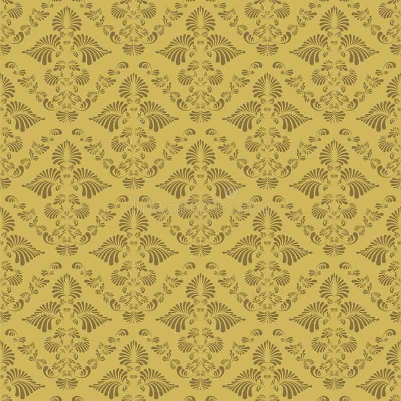 Seamless floral background. Seamless retro golden damask background vector illustration