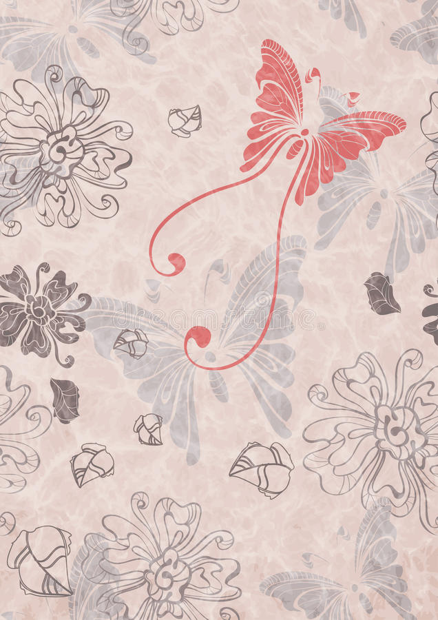Download Seamless Floral Background With Butterfly Stock Vector - Image: 23288064