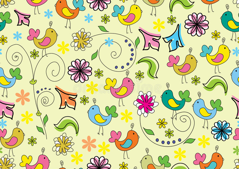 Download Seamless Floral Background With Cartoon Birds Stock Vector - Image: 23224166