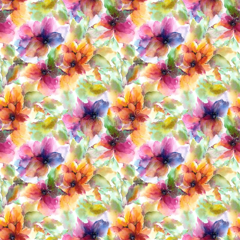 Seamless floral pattern. Watercolor flowers background. Colorful flowers. vector illustration