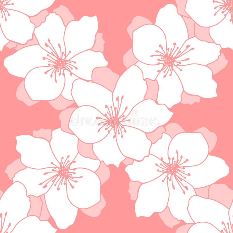 Seamless floral background. Decorative pattern of bright flowers for textile, fabric, scrapbook, web stock illustration